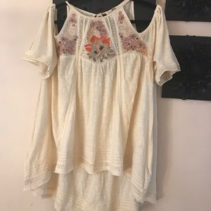 Free People Beaded cold shoulder top